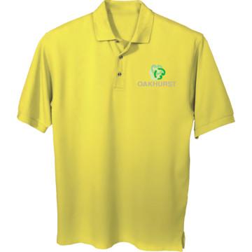 Men 39 s custom embroidered short sleeve polo shirt yellow for Custom embroidered polo shirts no minimum