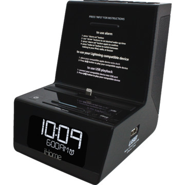 ihome hotel alarm clock radio for ipad iphone or ipod w voice instructions hd supply. Black Bedroom Furniture Sets. Home Design Ideas