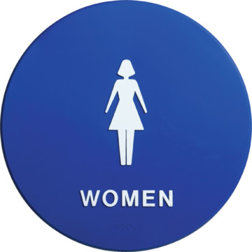 Plastic round women restroom sign hd supply for Women s bathroom sign